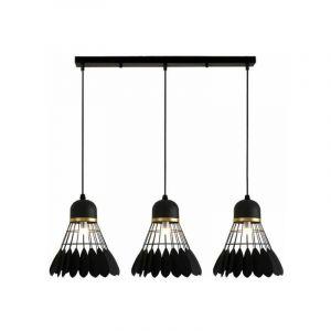 Lustre Suspensions Industrielle 3 Luminaire E27 Lampes pour Salon Cuisine Restaurant, E27 Noir - STOEX