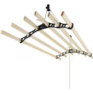 Etendoir à Linge Suspendu de 1,2 Mètre, 6 Lattes en Pin Vernissés, Supports en Fonte et Poulie Noirs - MONSTER SHOP