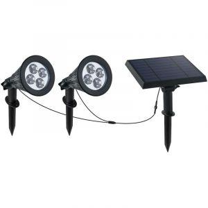 Lumi Jardin - Double spot solaire relié avec panneau solaire déporté 2 en 1 a piquer ou a fixer éclairage puissant LED blanc dimmable FAMIL…