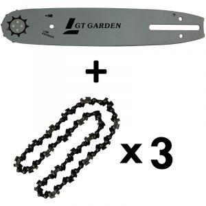 Guide 10 pouces (26 cm) avec lot de 3 chaînes 40 maillons pour tronçonneuse élagueuse 25 cm3 - GT GARDEN