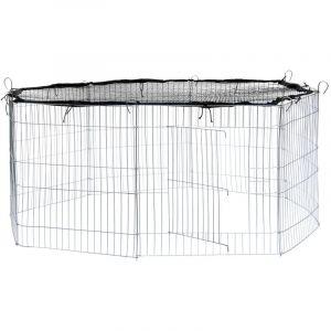 Parc d'Extérieur Grillagé à Lapins et Petits Rongeurs + 1 Filet de Protection 117 cm x 117 cm Noir - TECTAKE
