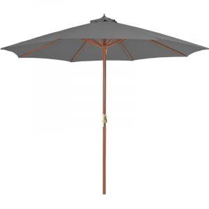 Parasol d'extérieur avec mât en bois 300 cm Anthracite - VIDAXL