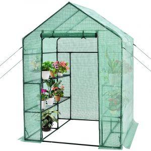 Serre de Jardin 3,9?avec Porte à Fermeture Enroulable Fenêtres d'Observation Bâche en PVC 8 Étagères 142 x 142 x 195 cm Vert - Costway