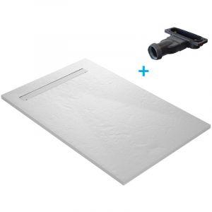 Receveur de douche résine blanc imitation ardoise - 140 x 90 cm avec grille caniveau inox coloris blanc, natte étanche pré montée et siphon ultra plat - U-TILE