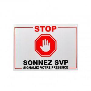Panneau extérieur 'STOP - SONNEZ SVP - Signalez votre présence' - plastique rigide (format A4) - ULTRA SECURE
