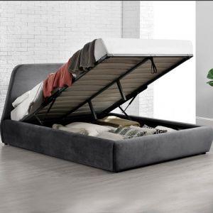 Norka - Lit coffre - 160x200 cm - Velours gris - CONCEPT-USINE
