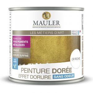 Peinture métallique effet or riche, cuivre, argent ou aluminium 0,5L : intérieur et extérieur, sans odeur - Effet Argent - 0,5L - MAULER