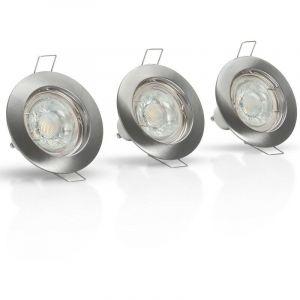 Jeu de 3 anneaux LED ronds Ø78mm argent à encastrer GU10 - 4000K Blanc neutre ASLO