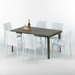 Table rectangulaire 6 chaises Poly rotin resine 150x90 marron | Bistrot Arm Blanc - GRAND SOLEIL