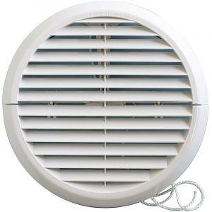 Grille ventilation ronde PVC IN OUT + moustiquaire Øext:170mm Øtube:100 à 140mm - FIRST PLAST