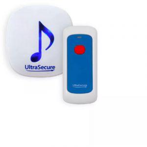 Ultra Secure - Alerte panique DA-600 sans-fil - Bouton SOS & Carillon - Portée 600 mètres / 35 mélodies / volume réglable / flashs