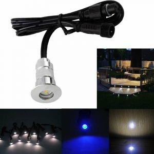 Pack Mini Spots LED Ronds Étanches SP-E02 - Tout Compris   Bleu - 6 spots LED - Sans Télécommande - LECLUBLED
