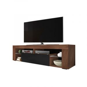 Selsey BIANKO - Meuble TV / Banc TV (140 cm, noyer mat / noir brillant, sans LED)