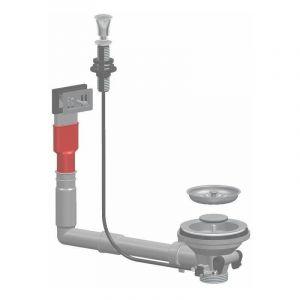 Clapet automatique avec poignée chromé pour éviers en acier inoxydable LIRA 1755TPR | 1½'