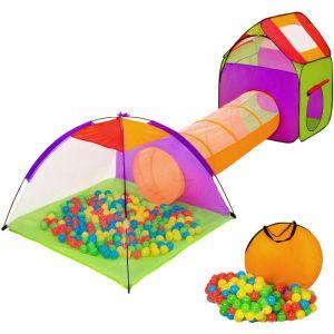 Tente enfant avec Tunnel de jeu + 200 Balles + Sac de transport Multicolore - TECTAKE