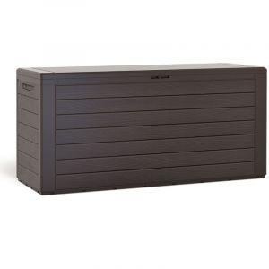 Prosperplast - Coffre de rangement 300 L Aspect bois Poignées latérales Malle de rangement Jardin Terrasse Balcon Brun
