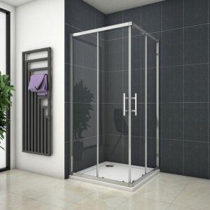 Cabine de douche 120x120x195cm en 6mm verre anticalcaire porte de douche coulissante l'ccès d'angle - OCEAN SANITAIRE