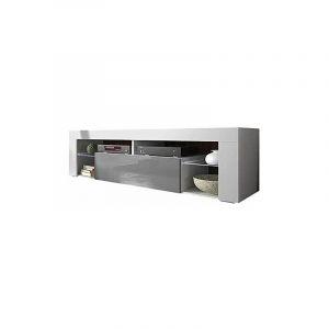 Selsey BIANKO - Meuble TV / Banc TV (140 cm, blanc mat / gris brillant, sans LED)