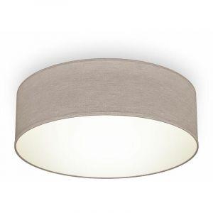 B.k.licht - Plafonnier textile taupe douille E27 rond Ø30cm éclairage plafond salon salle à manger chambre