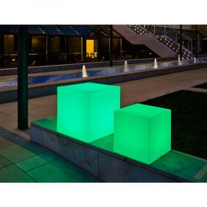 Cube lumineux 53cm outdoor Solaire+Batterie rechargeable LED/RGB - Moovere