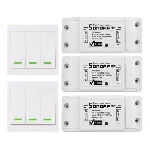 Commutateur De Commande Vocale Intelligent Wifi, Rf433Mhz, Sonoff, 3 Pcs
