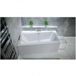 Baignoire angle gauche ZIANIGO avec tablier - Dimensions: 170cm - Noir - AZURA HOME DESIGN