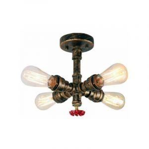 Plafonnier Vintage Industrielle Lampe de Plafond Tub Tuyau en Métal Lampe suspension pour Salon Chambre Cuisine Bar - STOEX