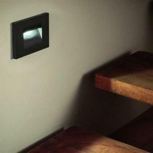 Balise LED saillie 3W 220V 120° Noire IP44 pour Escalier (Pack de 10) - Blanc Froid 6000K - 8000K - SILAMP