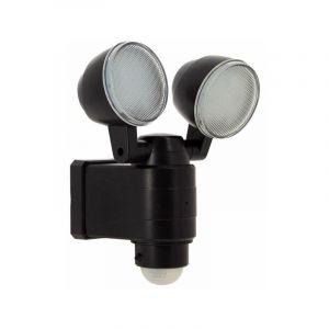 Projecteur LED double tête, 700 lumens (éclairage puissant), à détecteur de mouvement et panneau solaire déporté - XANLITE