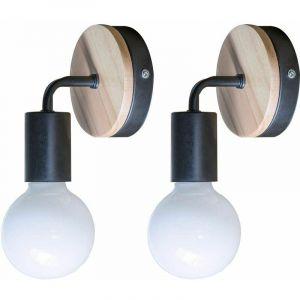 Lot de 2 Lampe murale noire Simplicity E27 LED Applique murale en fer et en bois pour salle des enfants Chambre Bar Hôtel (sans ampoule) - STOEX