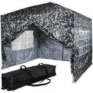 ® Tonnelle pliante BASIC 3x3 m, 4 panneaux inclus, couleur urban avec sac de rangement à roulettes - Instent