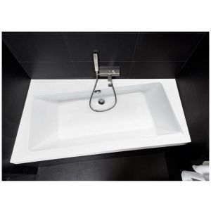 Baignoire angle gauche ZIANIGO avec tablier - Dimensions: 150cm - Noir - AZURA HOME DESIGN