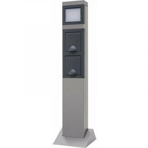 Colonne en aluminium pour l'extérieur avec 2 prises et éclairage LED - REV