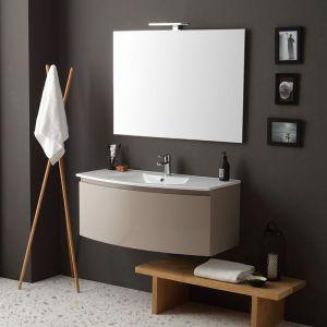 Armoire De Toilette Cintrée Suspendue 102Cm Cappuccino Poli Miroir Rectangulaire Riva - KIAMAMI VALENTINA