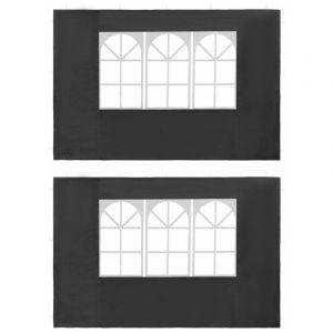 Paroi de tente de réception 2 pcs avec fenêtre PE Anthracite - VIDAXL