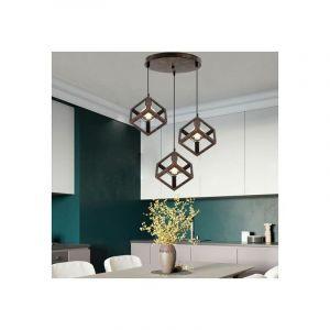 Suspension 3 Luminaire Design Cube Métal Industriel Lustre Intérieur Salle à Manger E27 Rouille - STOEX