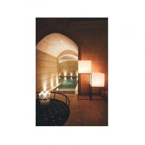 Pot de fleurs Cube en résine Carré H40 Lampe Blanche 40x40Cm - IDRALITE