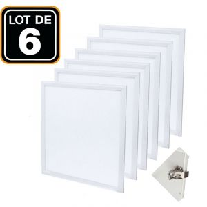 Dalle LED 600x600 40W lot de 6 pcs PMMA blanc neutre 4000k + 6 Kits Clips d'encastrement - EUROPALAMP