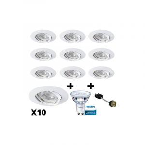 Lot 10 Spots Led GU10 Encastrables Blancs équipés LED Philips 5W dimmables 2700K - ANROLD