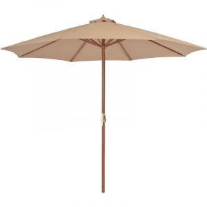 Parasol d'extérieur avec mât en bois 300 cm Taupe - VIDAXL
