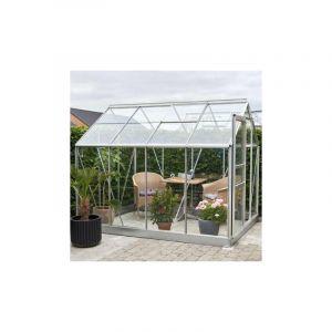 Serre en verre horticole Popular 86 - 5 m², Couleur Silver, Base Avec base - HALLS