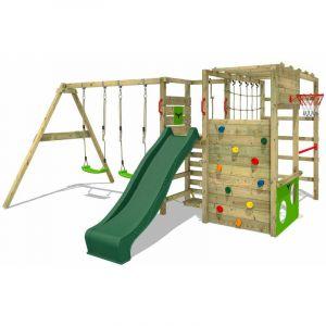 Aire de jeux Portique bois ActionArena avec balançoire et toboggan vert Échafaudage grimpant avec mur d'escalade & accessoires de jeux - Fatmoose