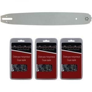 Guide 45 cm (18 pouces) + lot de 3 chaînes 66 maillons - Compatible tronçonneuses STIHL MS 291, 311 et 391 - GT MARKET