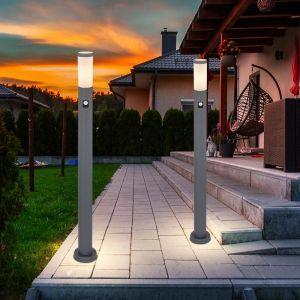 2x pied de support extérieur lampe de jardin en acier inoxydable détecteur de mouvement piliers lampe debout