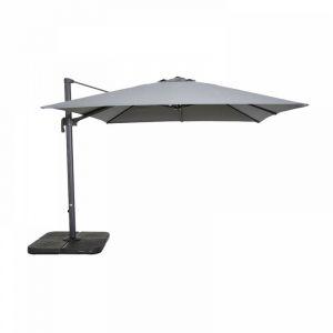 Parasol déporté carré 3 m en aluminium - Gris - OVIALA