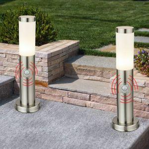 Etc-shop - Lot de 2 lampadaires, acier inoxydable, détecteur de mouvement, H 45 cm