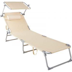 Transat CHLOE - chaise longue, bain de soleil, transat jardin - beige - TECTAKE