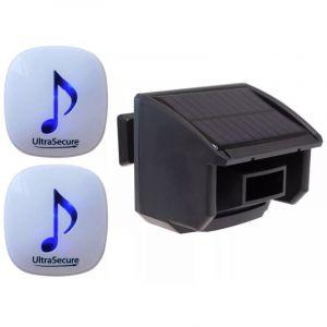 Kit alerte de passage 600m - double carillon 35 mélodies volume réglable + détecteur de mouvement solaire (DA-600) - ULTRA SECURE