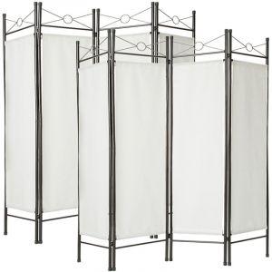 Paravent, Séparation de pièces, Cloison amovible, 4 Panneaux Pans Pliables Toile Polyester 180 cm x 160 cm x 2,5 cm Blanc X2 - TECTAKE