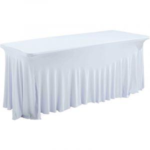 Table pliante 180 cm et nappe blanche - REKKEM